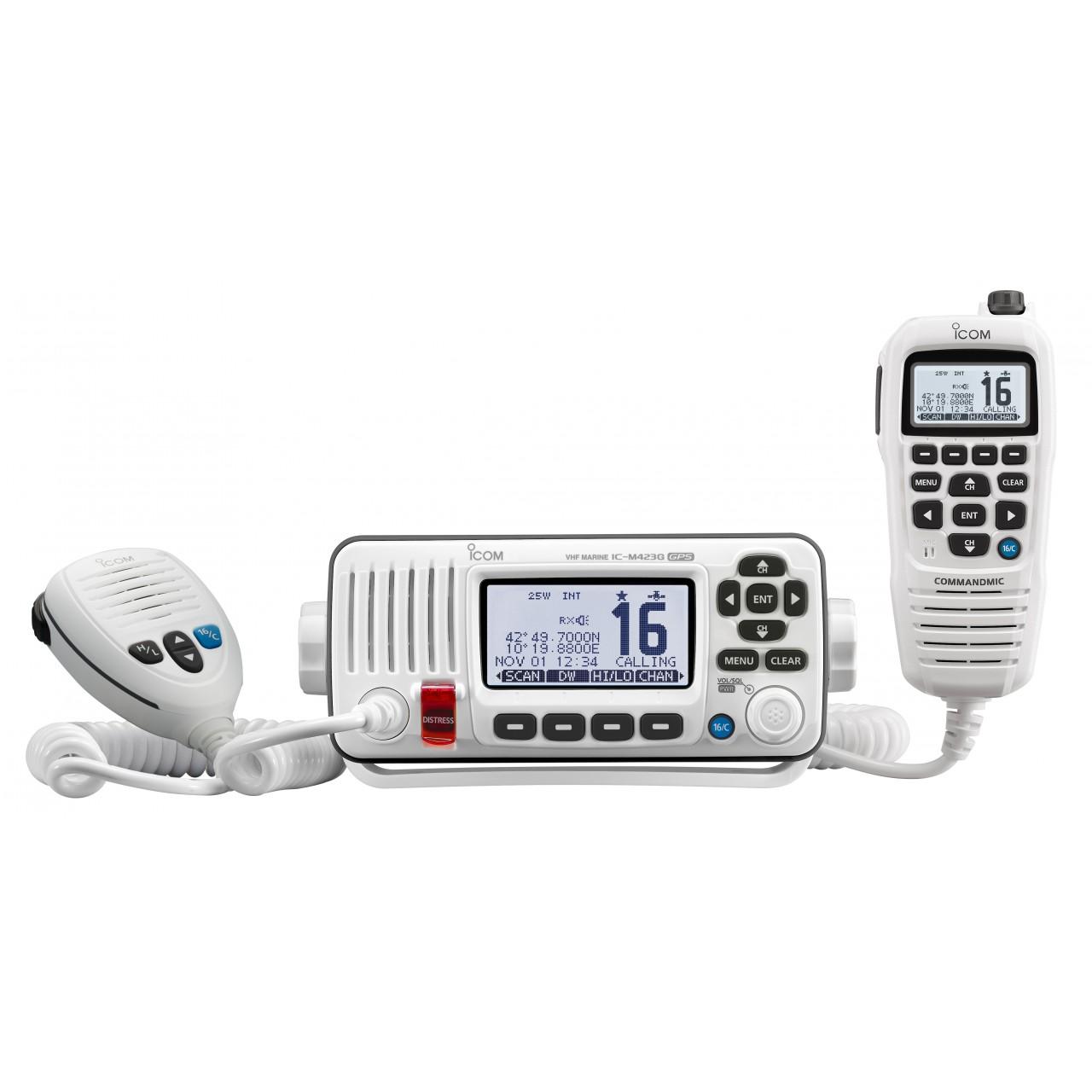 IC-M423GE avec microphone HM-195GW blanc