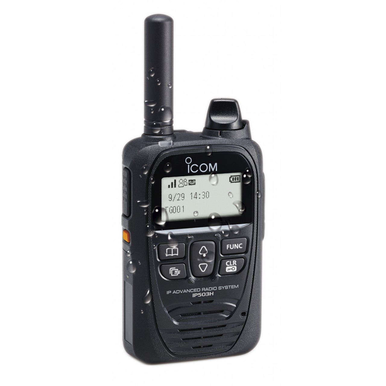 Portatif LTE ICOM IP503H avec des gouttes d'eau