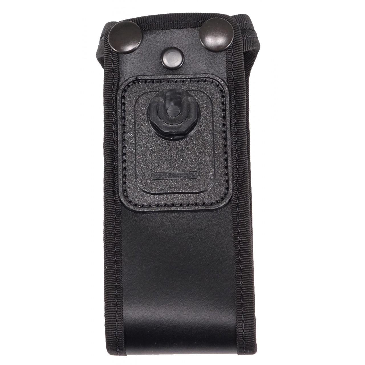 Housse en cuir pour portatif satellite, (nécessite un accessoire de portage). vue arrière sans portatif.