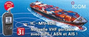 Illustration IC-M94DE : Nouvelle VHF marine portable avec GPS, ASN et AIS